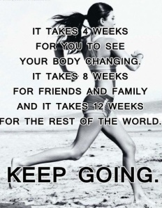 Text: it takes four weeks for you to see your body changing. It takes 8 weeks for friends and family, and it takes 12 weeks for the rest of the world. Keep going.