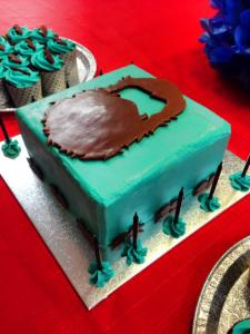 A Beard Cake- there's red velvet cake under all that blue icing